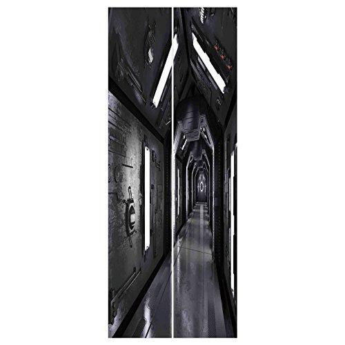 3D Door Wall Mural Wallpaper Stickers   Outer Space Dark Futuristic Corridor Of Spaceship Adventure Technology Sci Fi Art Prints Dark Grey   Mural Door Wall Stickers Wallpaper Mural Diy Home Decor