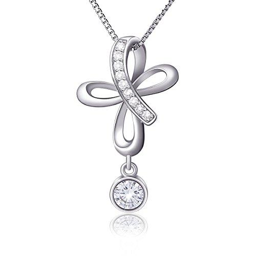 Sterling Silver Cubic Zirconia Open Loop Celtic Knot Cross Pendant Necklace - Cubic Pendant Open Zirconia Heart