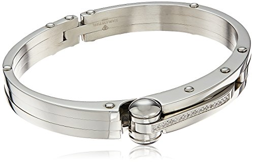 Mens-Stainless-Steel-Handcuff-Bracelet-110-cttw-I-J-Color-I2-I3-Clarity