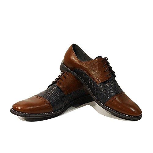 Modello Scipione - Cuero Italiano Hecho A Mano Hombre Piel Azul marino Zapatos Vestir Oxfords - Cuero Cuero repujado - Encaje
