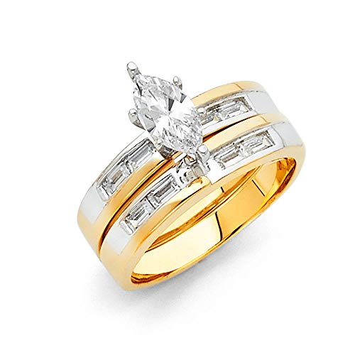Wellingsale Ladies Solid 14k Two 2 Tone White and Yellow Gold CZ Cubic Zirconia Marquise Cut Engagement Ring and Wedding Band Bridal Set - Size 9 ()