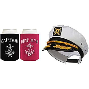 9ea5530e3baee ThisWear Captain Hat Yacht Cap Funny Beer Coolie Captain First Mate Can  Coolie Bundle
