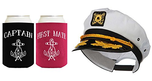 Captain Hat Yacht Cap Funny Beer Coolie Captain and First Mate Can Coolie Bundle