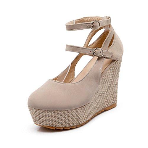 Tacones Zapatos Sandalias Superficial Hueco Impermeable y único de Zapatos Zapatos Beige Mesa Damas Ronda Altos Cxz4dUqBww