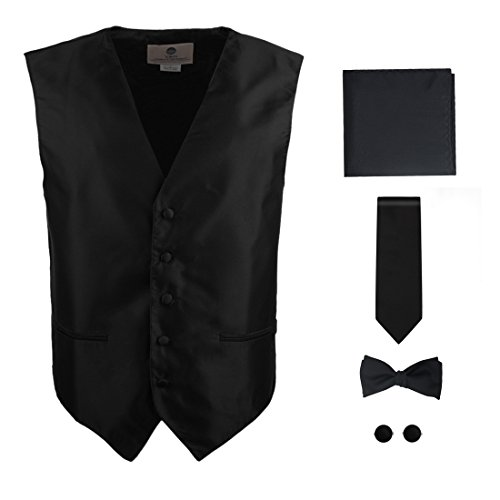 Solid Black Formal Vest for Men Patterned for Mens Gift Idea with Neck Tie, Cufflinks, Handkerchief, Bow Tie for Suit Vs1003 (3xl) by Y&G (Image #2)