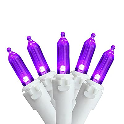 "Set of 100 Purple LED Mini Christmas Lights 4"" Spacing - White Wire"