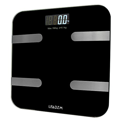 Smart Bluetooth Body Fat Digital Weight Scale by Balance High Precision Weight Measurements 396 lbs Black by QJR (Image #1)