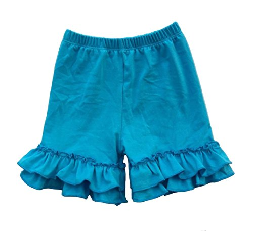 Coralup Baby & Little Girls Ruffles Cotton Shorts P6094_Turquoise(XXXXL,7-8Y)