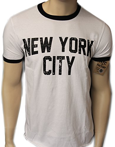 Retro Style New York City John Lennon T-shirt Ringer Distressed Print Mens, White, X-Large (John Lennon New York T Shirt)