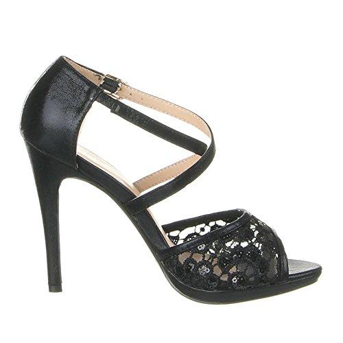 Damen Schuhe SANDALETTEN HIGH HEELS RIEMCHEN PUMPS Beige Schwarz Weiß 36 37 38 39 40 41 Schwarz