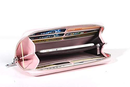 Carteras Bolsa Cuero Rfid 5 Para Diseño Capacidad De Mujer Bloqueo color Vintage Hombro Gran qC44ETa