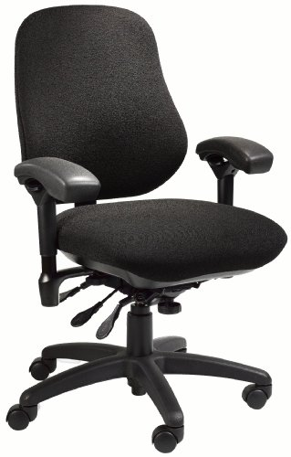 BodyBilt J2509 Black Fabric XL High Back Thoracic Support Task Ergonomic Chair with Arms, 22