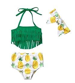 VISGOGO Newborn Baby Girl Pineapple Tassels Haltel Swimwear Bathing Suit Beachwear with Headband