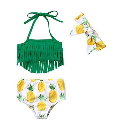 VISGOGO Newborn Baby Girl Pineapple Tassels Haltel Swimwear Bathing Suit Beachwear with Headband (0-6 Months, Green)