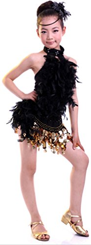 Seawhisper Children's Latin Dance Girls Rumba Dress Feather Top Paillettes Skirt (Modern Dance Costumes For Kids)