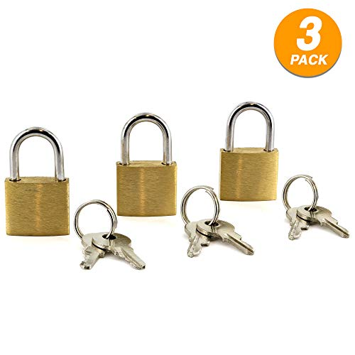 Ram Pro Small Metal Padlock Solid Brass Mini Lock Stylish and Highly Durable Perfect for Jewelry Box, Briefcases,Gym or Sports Lockers, School Lockers, and Storage Cabinets