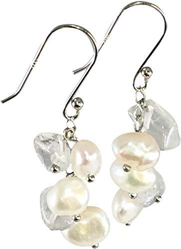 - HinsonGayle Freshwater Cultured Pearl & Clear Quartz Crystal Dangle Earrings Sterling Silver
