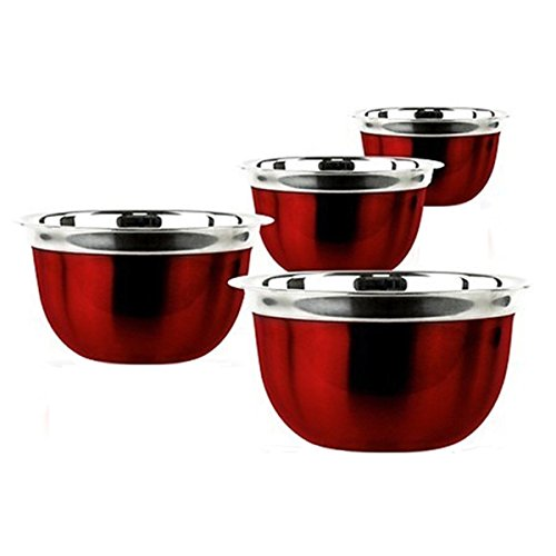 (Prime Pacific 4-piece Red Stainless Steel Euro Style Bowl)