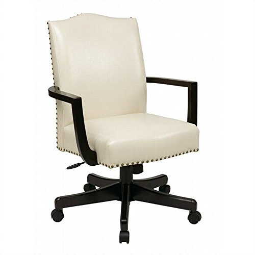 Office Star Morgan Managers Chair with Thick Padded Bonded Leather Seat and Back with Steel Reinforced Wood Base and Dual Wheel Carpet Casters, Cream - Cream Leather Office Chair