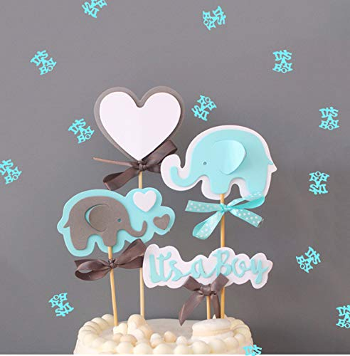 Blue Elephant Cake Topper It's a Boy Heart Blue Confetti Blue Elephant Themed Cupcake Picks for Kids Birthday Baby Shower Decorations -