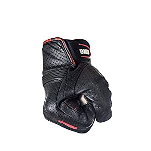 Motorcycle Biker Gloves In Black Premium Leather | Padded All Weather Feature for Men and Women | Touchscreen Fingers - Breathable Moisture Wick Air Flow Technology Between Fingers | SWIFT (Red-M)
