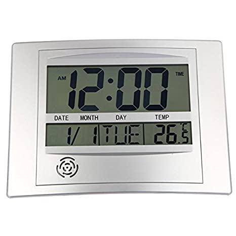 TOOGOO LCD Reloj de Pared Digital con Termómetro Medidor de Temperatura Electrónico Calendario Escritorio Interior Reloj de Pared Digital Decoración para El ...
