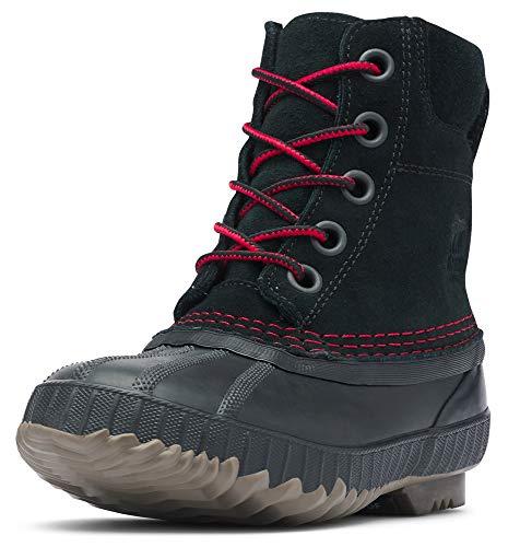 Sorel Boys' Youth Cheyanne II Lace Chukka Boot, Black, Mountain red, 4 M US Big Kid