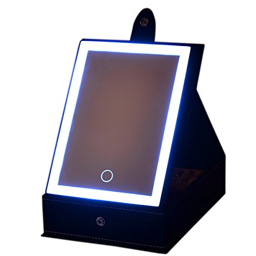 Omeet LED Lighted Makeup Mirror with Storage Box for Cosmetics and Jewelry Storage - USB and Battery Operated
