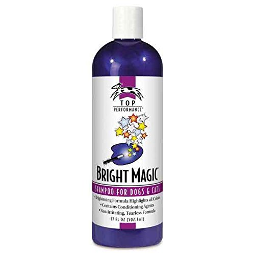 Top Performance Bright Magic Pet Shampoo Dog & Cat Grooming Brightens Coats Cherry Scented 17 oz