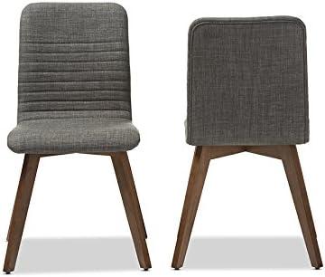 Baxton Studio 2 Piece Sugar Scandinavian Style Fabric Upholstered Walnut Dining Chair Set