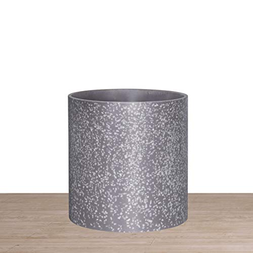 Indoor 8 Inches Round Modern Planter Pot - Terrazzo - Easy Grow Fiberglass Resin Planter with Drainage Hole and Plug - by D'vine Dev