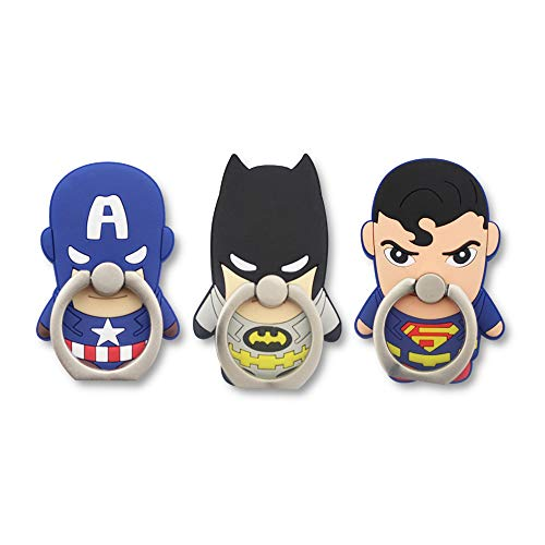 Finex Set of 3 Superheroes 2-in-1 Mobile Cell Smart Phone Kickstand Finger Ring and Holder Stand Grip Cute 360 Degree Rotating Ring for iPhone Galaxy Smartphone Case - Random