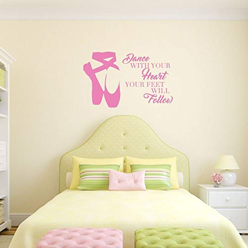Personalized Ballerina Wall Decor -Dance With Your Heart Your Feet Will Follow - Vinyl Wall Decal For Your Girl's Bedroom or Dance (Ballerina Personalized Note)