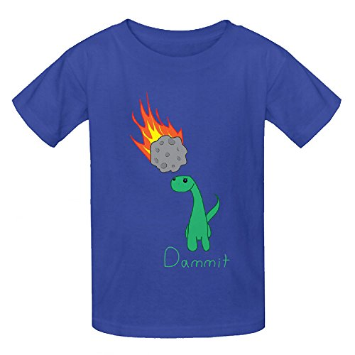 Dammit Dinosaur Teen Crew Neck Print Tees Blue