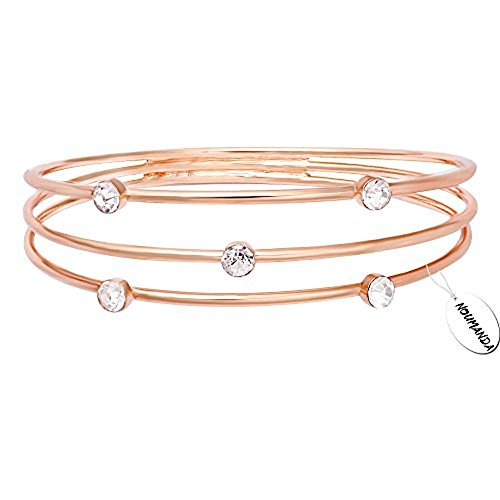 - NOUMANDA Gold Silver and Rose Gold Triple Strand Geometric Rhinestones Bangle (Rose Gold)