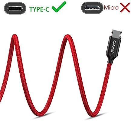 GIANAC Cable USB Tipo C 0.5M (2-Pack) Cargador Tipo C de Nylon Trenzado Carga Rápida y Sincronización de Datos Cable para Samsung S9/S8/Note8, ...