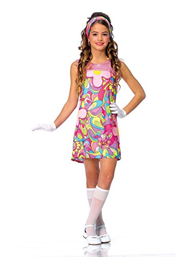 Kids Girls Costume 60s 70s Groovy Girl Dress Outfit M Girls Medium (US size -