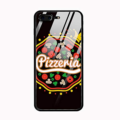 Pizzeria Promotional Hard Rigid Tempered Glass Back Cover with Anti Slip TPU Silicone Bumper for Phone X