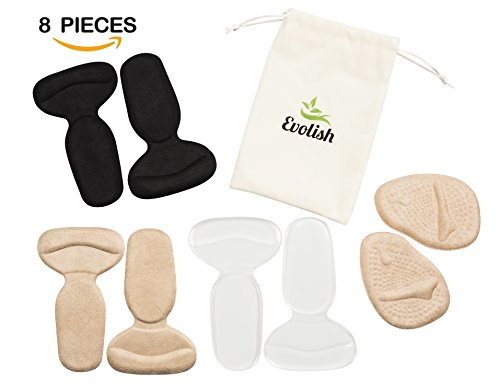 Multi Colored High Heel (High Heel Pads (8 pcs) | High Heel Cushion Inserts for Women | High Heel Grips | Shoe Heel Liners Forefoot Cushion Heel Insoles For Blisters Pain Relief & Shoes Too Big by Evolish (Mix))
