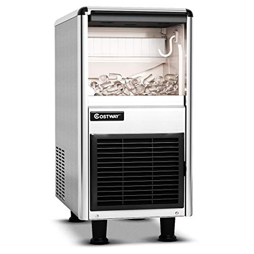 COSTWAY Commercial Ice Machine, 110LB/24h Stainless Steel Machine, 33LBS Storage Capacity, W/LCD Display, Free-Standing Ice Maker Design, High efficient Compressor, for Restaurant, Bar & Coffee Shop
