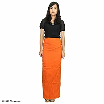 4c024409 GISKAA Traditional Carrot Orange Cotton Mizo Puan (Wraparound Skirt):  Amazon.in: Clothing & Accessories