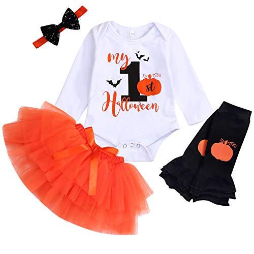 Baby Girl My 1st Halloween Outfits Long Sleeve Pumpkin Romper+Tutu Skirt+Headbands 4PCS Clothes Set (Orange, 6-9 Months)