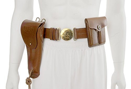 Officers Leather Belt set with 1916 1911 Holster and .45 Magazine Pouch