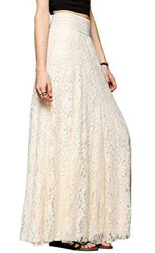 Chartou Womens Elegant Floral Lace Elastic High Waist Pleated Maxi Long Beach Skirts (X-Small, ()