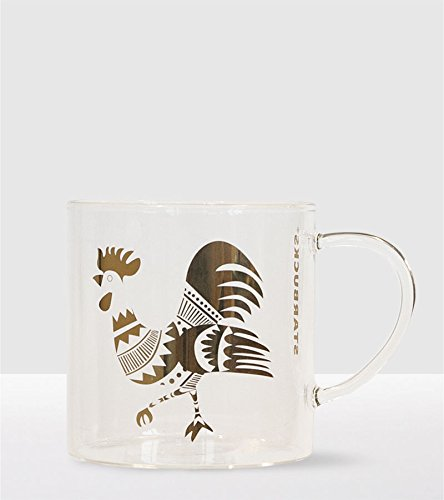 Starbucks Lunar New Year Mug 2017 - Gold Rooster Glass Mug ()