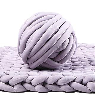 Bulky Yarn,Super Chunky Yarn Washable Roving for Arm Knitting Extreme Knitting (Light Grey)