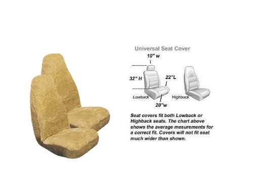 2 Front Synthetic Sheep Skin Seat Cover Natural