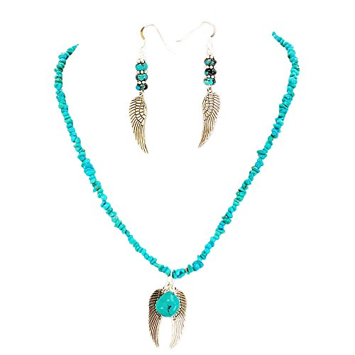 (002 Ny6design Turquoise Angel Wings w/Silver Plated Toggle Necklace & Earring set 17
