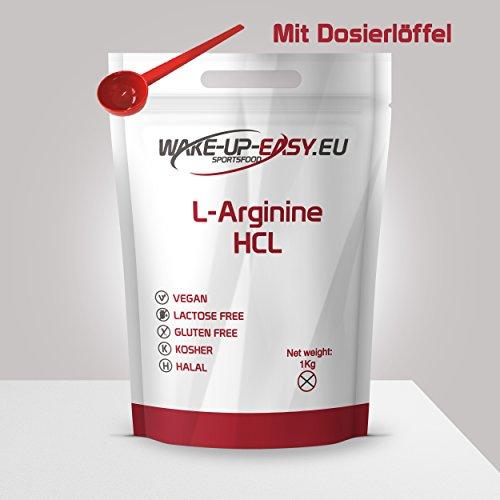 L - Arginin Pulver Pur 1000g (gut löslich), inkl. Dosierlöffel, 1Kg