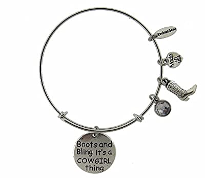 Boots and Bling It's a Cowgirl Thing Silver Tone Expandable Wire Bracelet